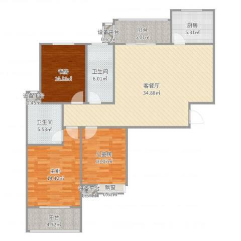 天香心苑3室2厅2卫1厨123.00㎡户型图