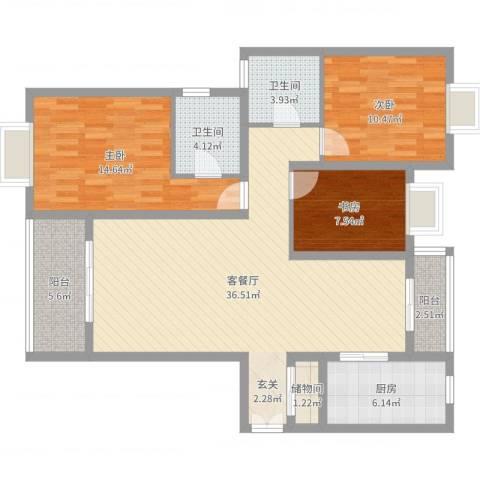 香山锦苑二期3室2厅2卫1厨116.00㎡户型图