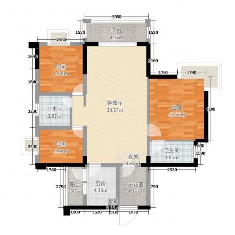 碧琴湾花园3室2厅2卫1厨109.00㎡户型图