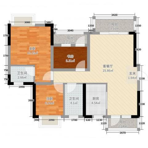 碧琴湾花园3室2厅2卫1厨94.00㎡户型图