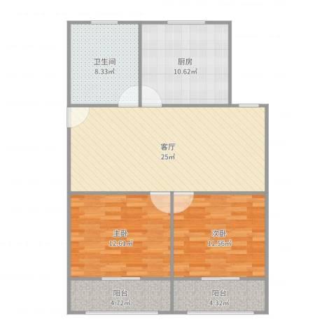 九洲大唐花园二期2室1厅1卫1厨77.16㎡户型图