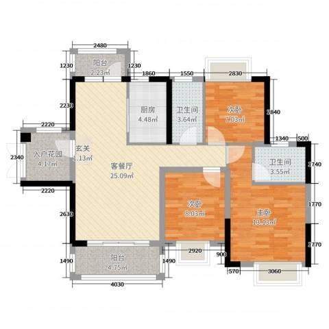 碧琴湾花园3室2厅2卫1厨99.00㎡户型图