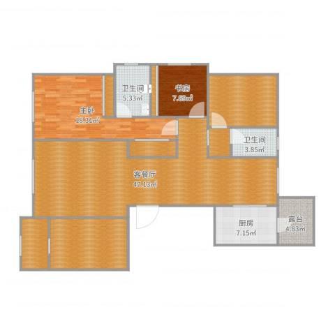 贻成・御景国际2室2厅2卫1厨159.00㎡户型图