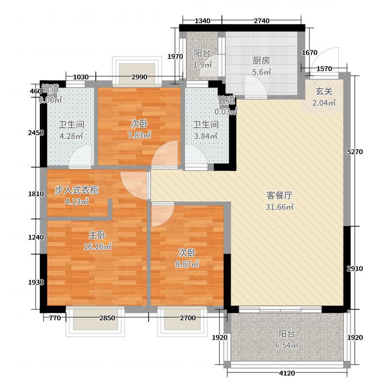南宁恒大华府117.93㎡2#楼1单元、2单元B户型3室3厅2卫1厨