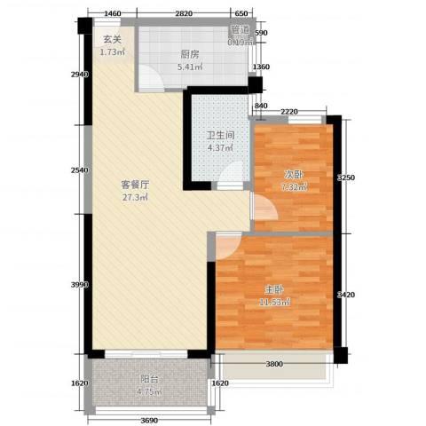 碧桂园山河城2室2厅1卫1厨83.00㎡户型图