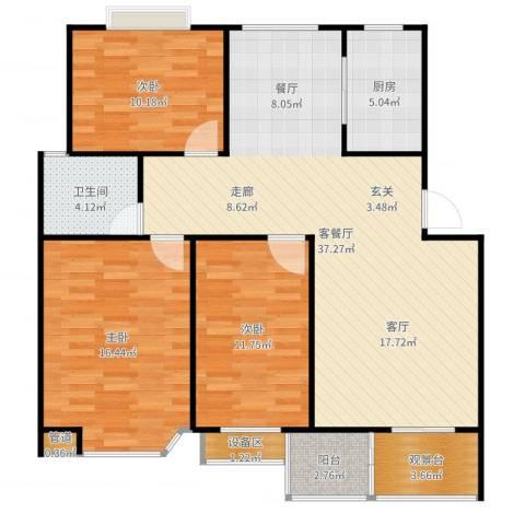 阿尔卡迪亚3室2厅1卫1厨116.00㎡户型图