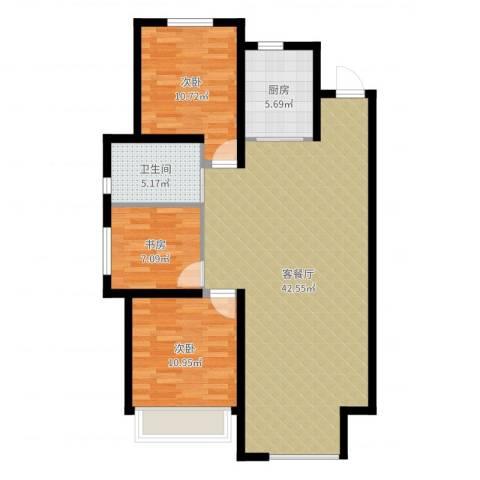华润橡树湾3室2厅1卫1厨103.00㎡户型图