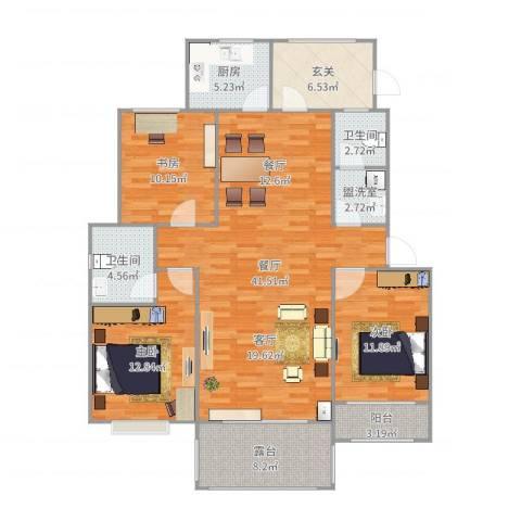 卓达明郡-现代简约3室3厅2卫1厨137.00㎡户型图