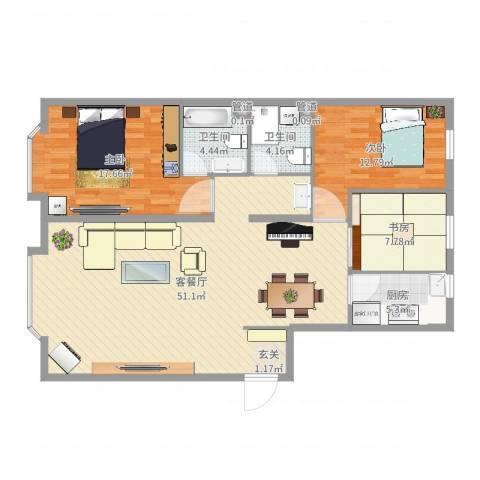 世豪领秀3室2厅2卫1厨129.00㎡户型图