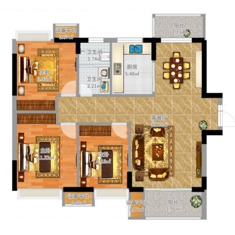 光谷新世界3室2厅2卫1厨97.00㎡户型图