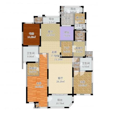 海珀兰轩3室2厅3卫1厨250.00㎡户型图
