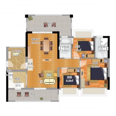 新怡・美丽家园3室2厅2卫1厨116.00㎡户型图