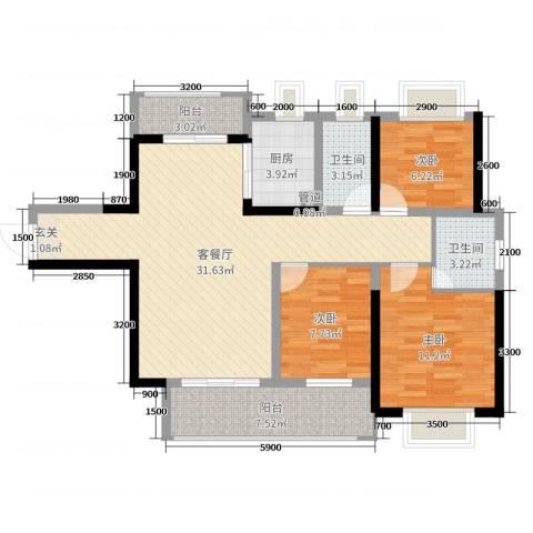 壹号公馆3室2厅2卫1厨105.00㎡户型图