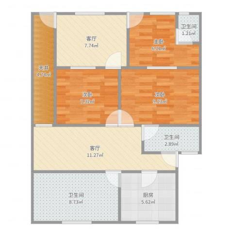 通河八村3室2厅3卫1厨81.00㎡户型图