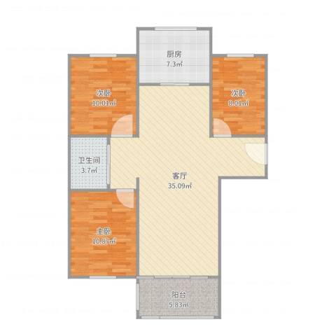 金湾山城3室1厅1卫1厨101.00㎡户型图