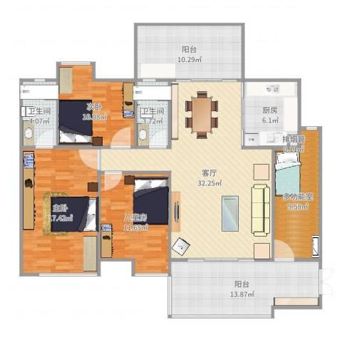 景源公园一号3室1厅3卫1厨148.00㎡户型图