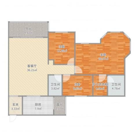 半岛碧桂园3室2厅2卫1厨147.00㎡户型图