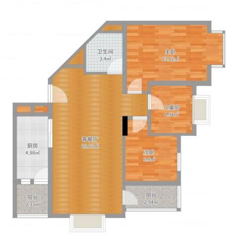 同逸苑3室2厅1卫1厨82.00㎡户型图