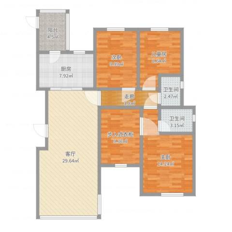 远大都市风景三期3室1厅2卫1厨117.00㎡户型图