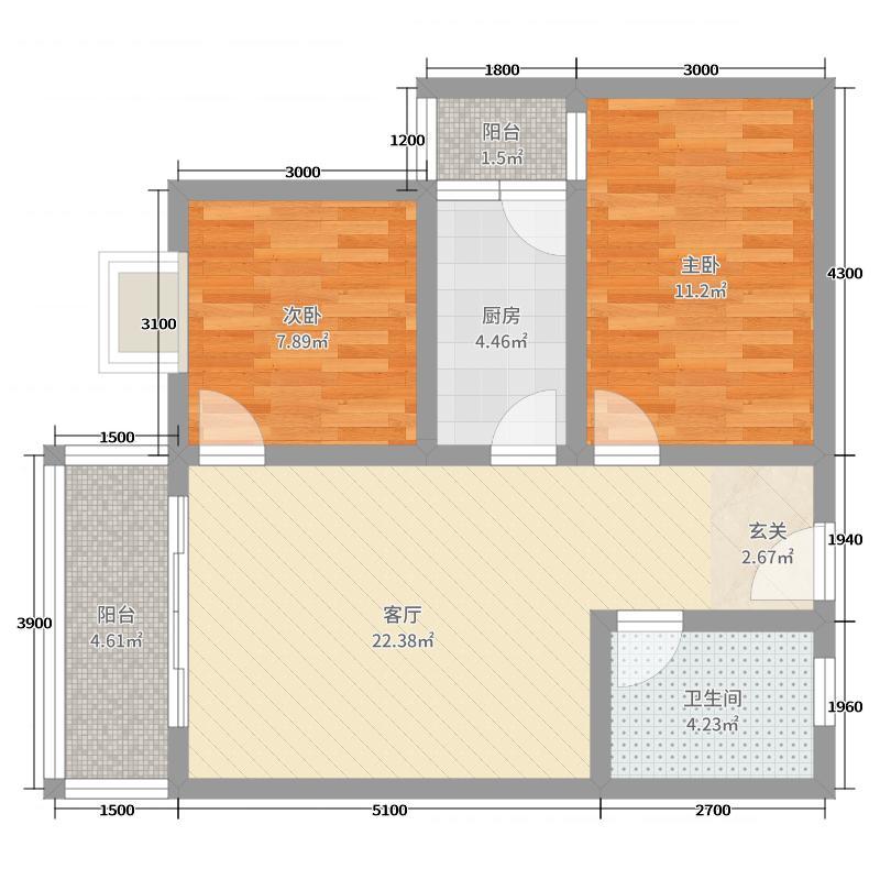 紫光尚城B3户型2室2厅1卫1厨