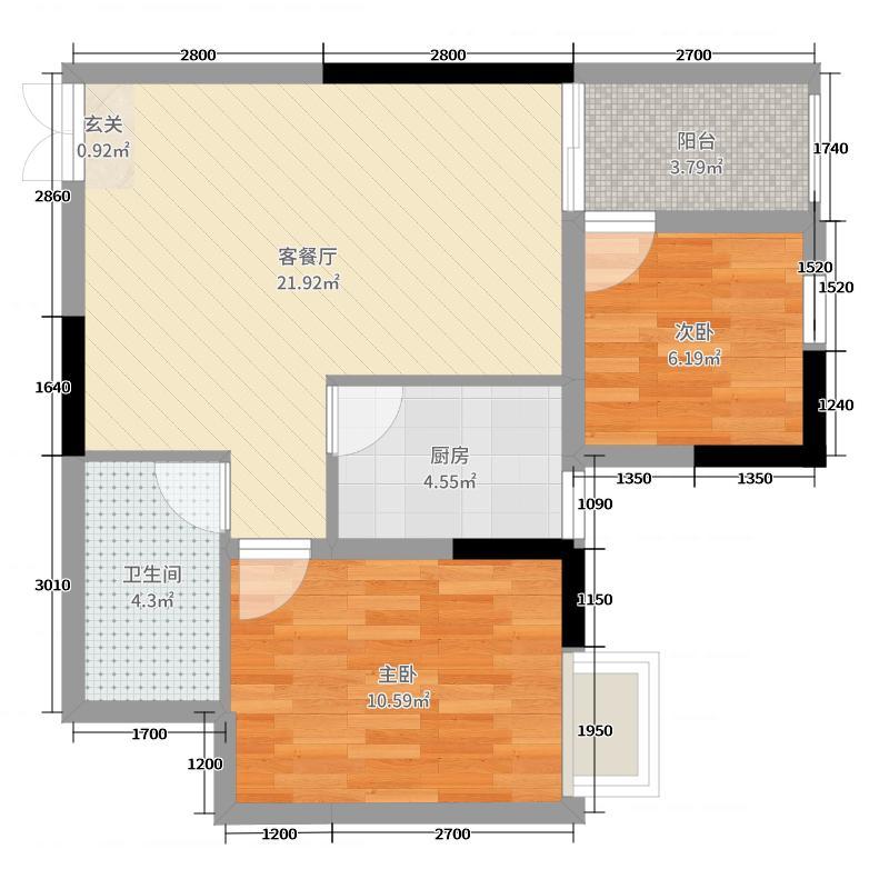 时兴・尚上城67.34㎡B3-6户型2室2厅1卫1厨