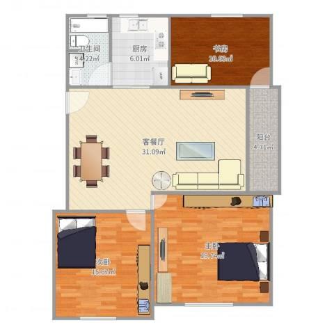绿地新干线3室2厅1卫1厨115.00㎡户型图
