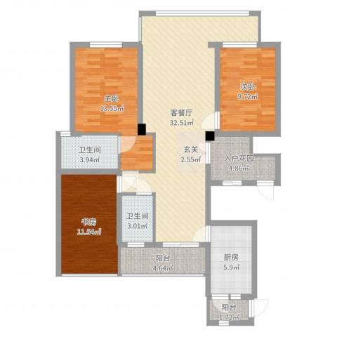 浙建・太和丽都三期3室2厅2卫1厨91.38㎡户型图