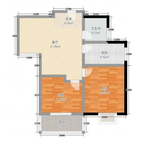 子午美居2室1厅1卫1厨89.00㎡户型图