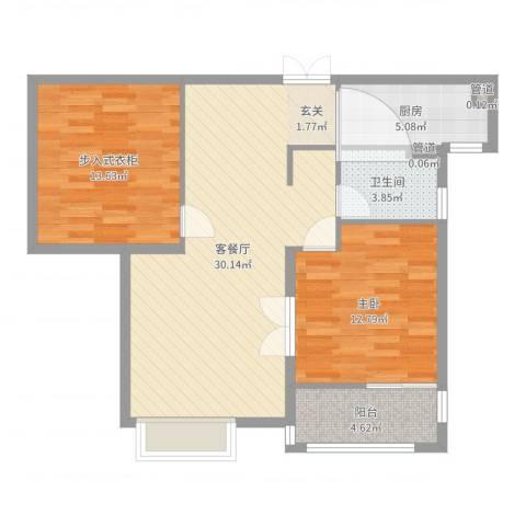 中星湖滨城凡尔赛九郡1室2厅1卫1厨88.00㎡户型图