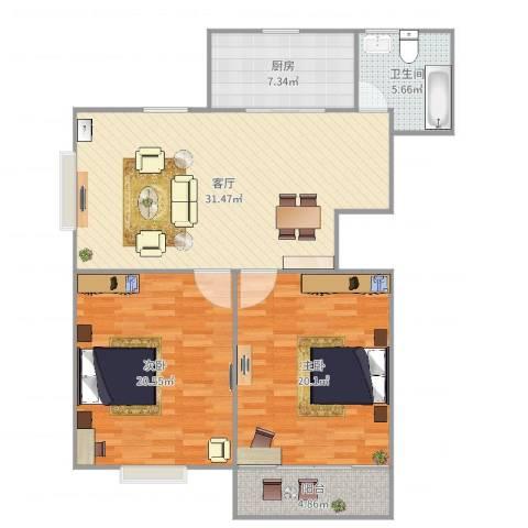 广益佳苑2室1厅1卫1厨112.00㎡户型图