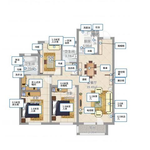 华润橡树湾3室2厅2卫1厨118.00㎡户型图