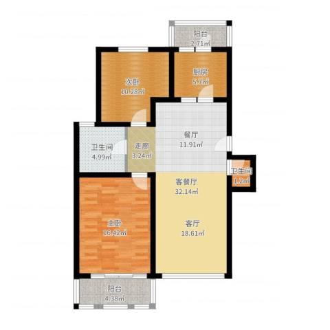 银都一村(闸北)2室2厅2卫1厨97.00㎡户型图