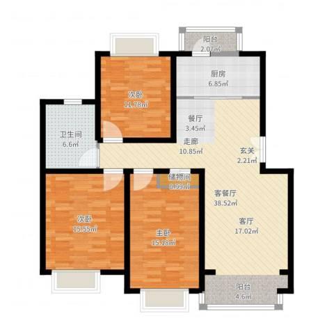 春港丽园3室2厅1卫1厨139.00㎡户型图