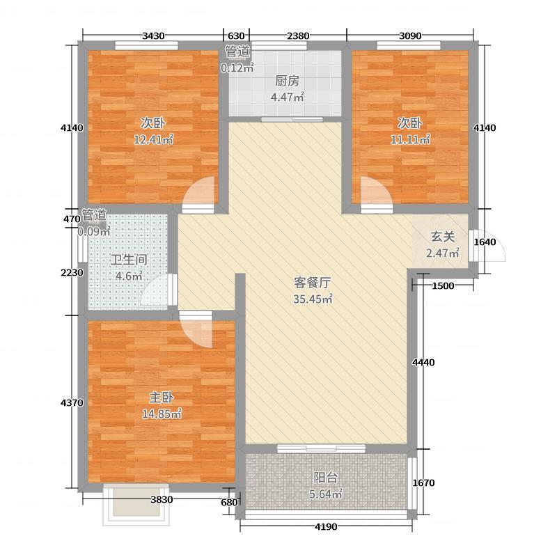志扬左岸110.93㎡A1户型3室3厅1卫1厨