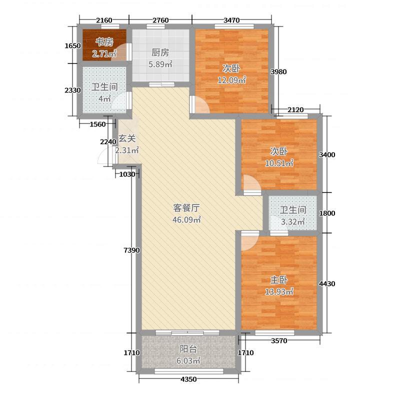 御景观澜130.73㎡21#H5户型3室3厅2卫1厨