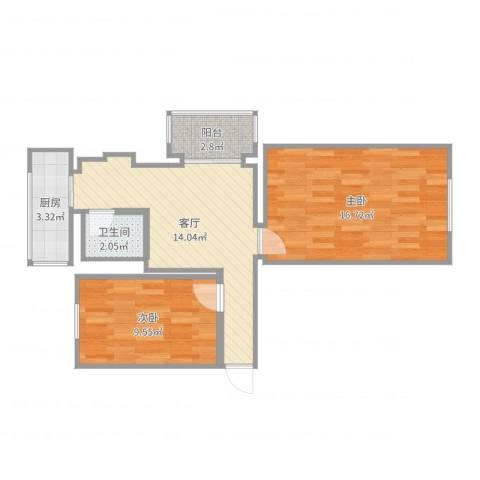 三水南里2室1厅1卫1厨61.00㎡户型图