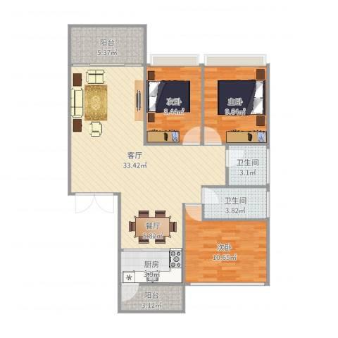 锦江南苑3室1厅2卫1厨102.00㎡户型图