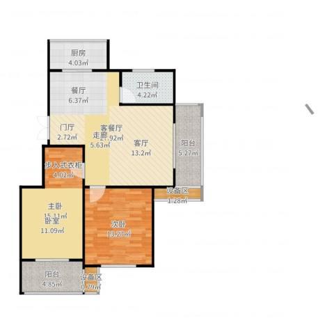 西城印象2室2厅1卫1厨96.00㎡户型图