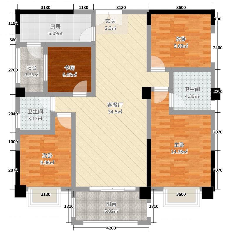 好来世纪广场138.79㎡E2户型4室4厅2卫1厨