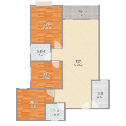 蔚蓝国际3室1厅2卫1厨105.00㎡户型图