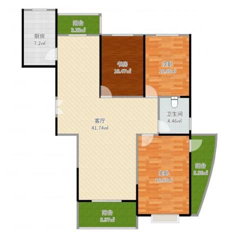 恒达名门尚居3室1厅1卫1厨133.00㎡户型图