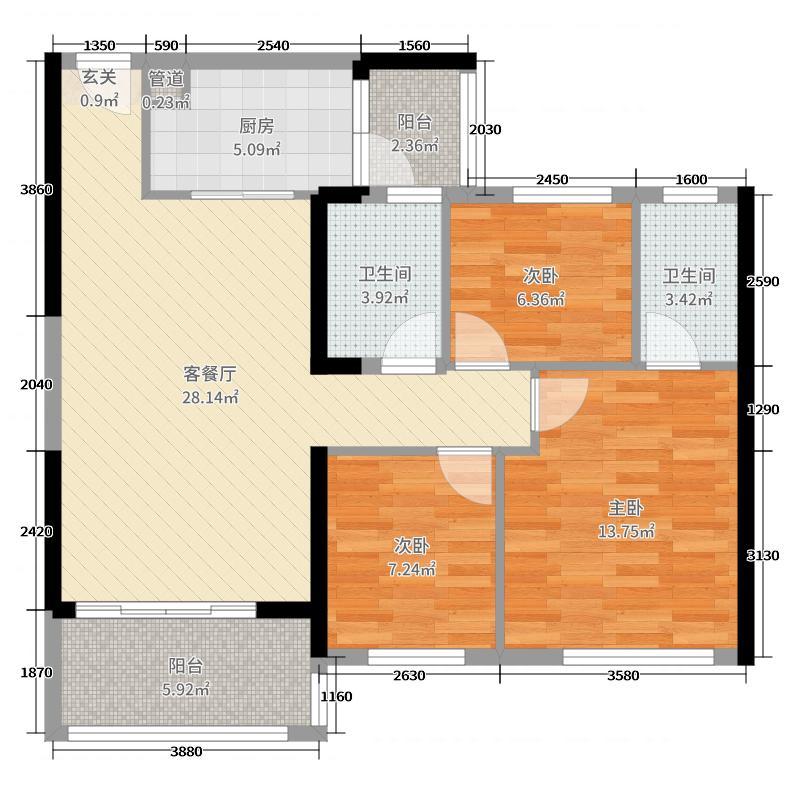 碧桂园山河城110.00㎡YJ110B户型3室3厅2卫1厨