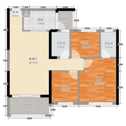 碧桂园山河城3室2厅2卫1厨110.00㎡户型图