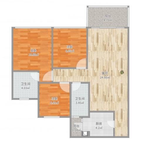 城东名门3室1厅2卫1厨85.00㎡户型图