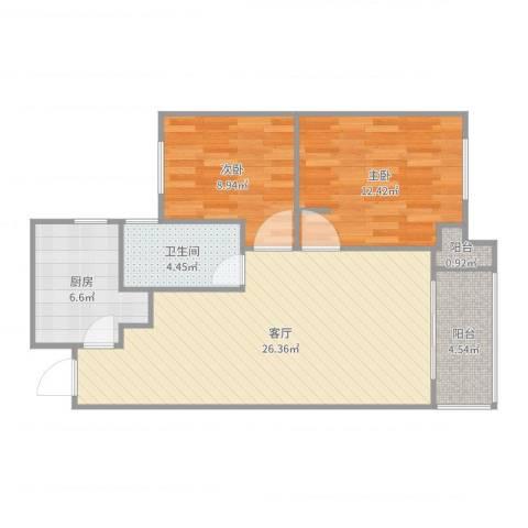 嘉定新城2室1厅1卫1厨64.24㎡户型图