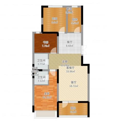 抚顺澳海澜庭2室2厅2卫1厨104.00㎡户型图
