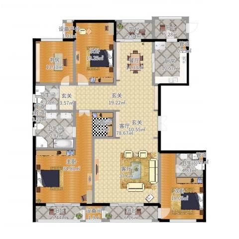 万正广场4室1厅3卫1厨220.39㎡户型图