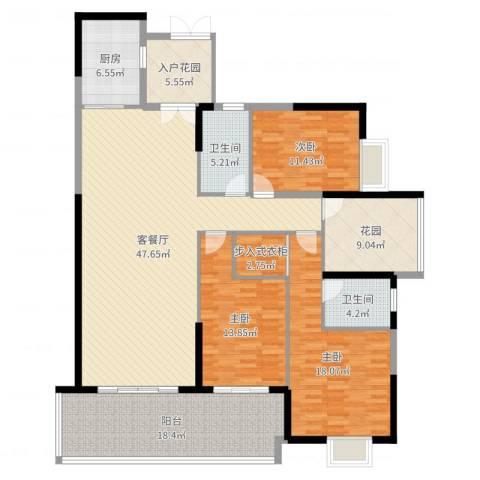 中建江山壹号3室2厅2卫1厨178.00㎡户型图