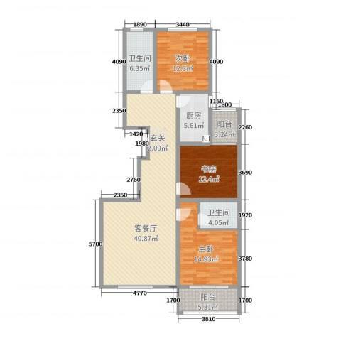 华丽家族3室2厅2卫1厨131.00㎡户型图