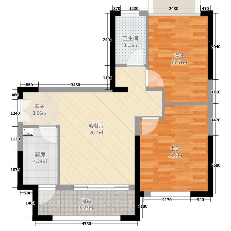 雄飞生活广场74.00㎡2栋B4户型2室2厅1卫1厨